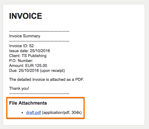 Attachment link in invoice email