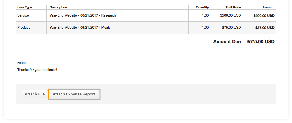 Attach expense report to this invoice