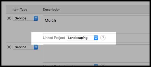 project dropdown below each line item