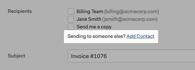 Add invoice or estimate recipient