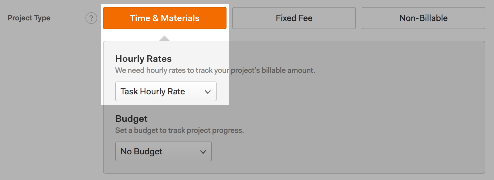 Screenshot of the New/Edit Project page for a Time & Materials project with the Task Hourly Rate billing method selected