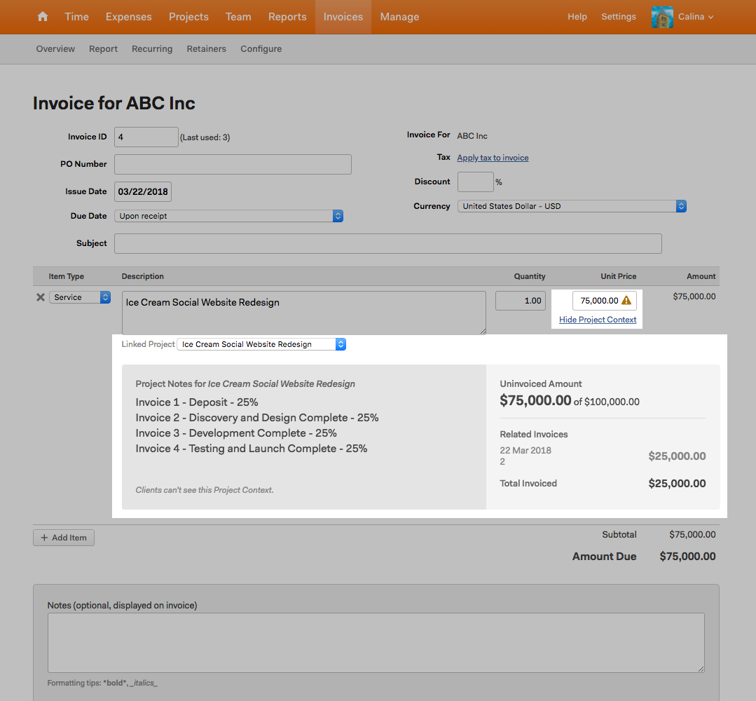 image of a Harvest invoice that shows project context in use